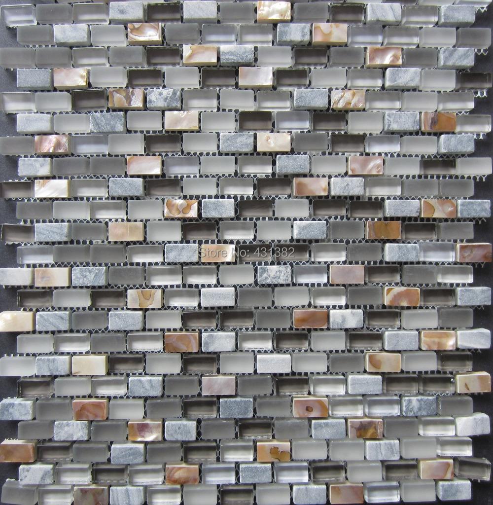 2016 glass mosaic tiles stone mosaic mixed shell mosaic tile on mesh