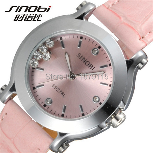 Гаджет  Women Fashion Crystal Quartz watch SINOBI Brand with Japanese movements Leather band with tags Free shipping s9276l None Часы