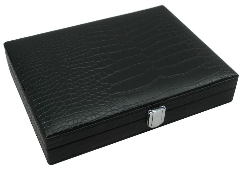 COHIBA BLACK LEATHER CEDAR TRAVEL CIGAR HUMIDOR WITH LIGHTER/CUTTER(China (Mainland))