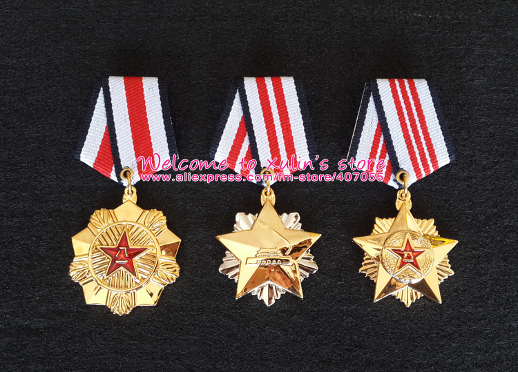 XDT0014 Full Set Chinese P L A Meritorious Service Medal Different classes of the Order of Merit Metal Badge(China (Mainland))