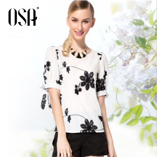 OSA 2015 Spring New Arrivals Womens Embroidery Maple Leaf Short Sleeve O Neck Blouses Shirts Cotton Tops SC460049(China (Mainland))