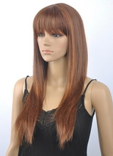 DYZ 622+++ fine Long straight brown mix women's hair Wig(China (Mainland))