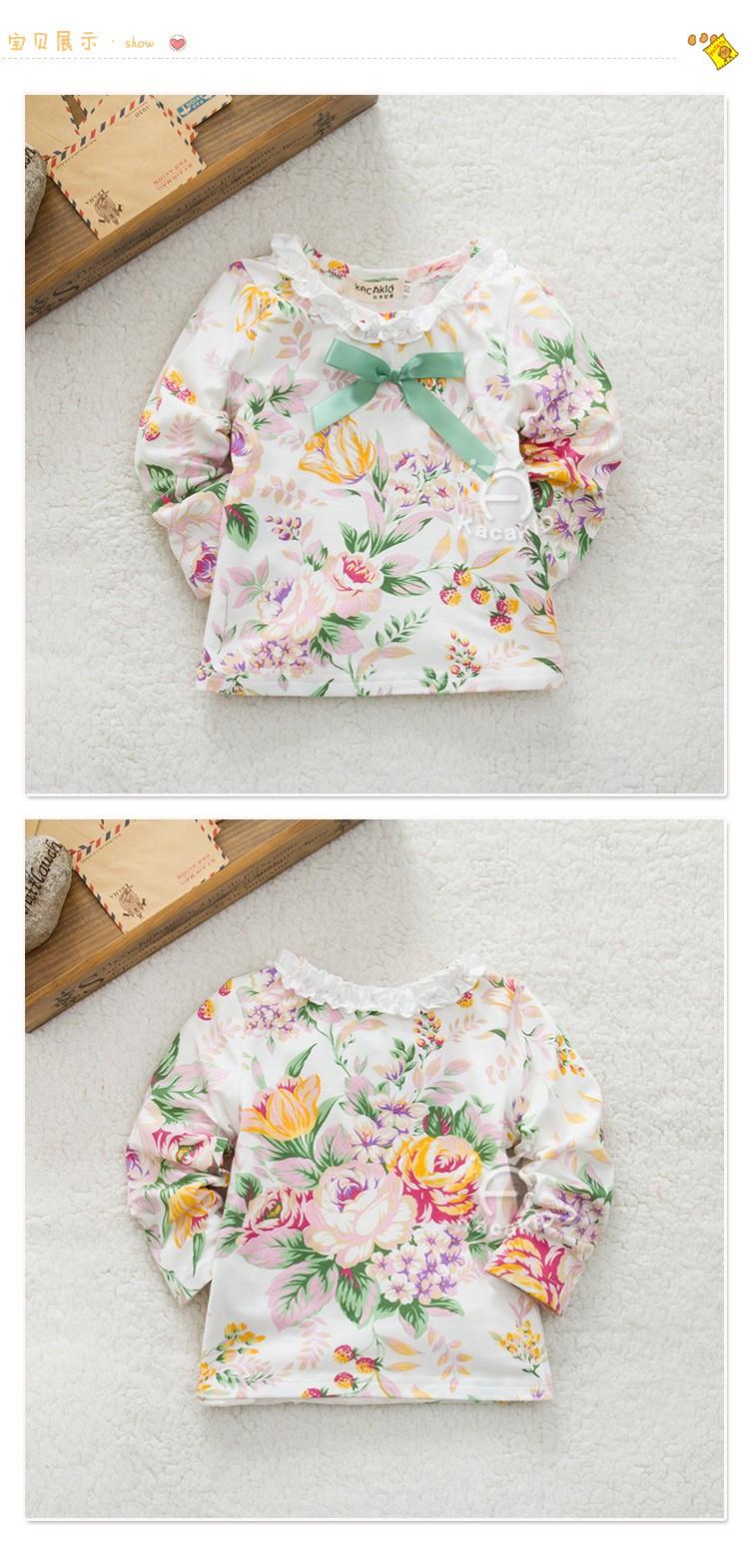 Lace bow Girl Blouses & Shirts Baby clothes Girls Princess coat Cotton Infantil roupas de bebe flower print toddler kids clothes