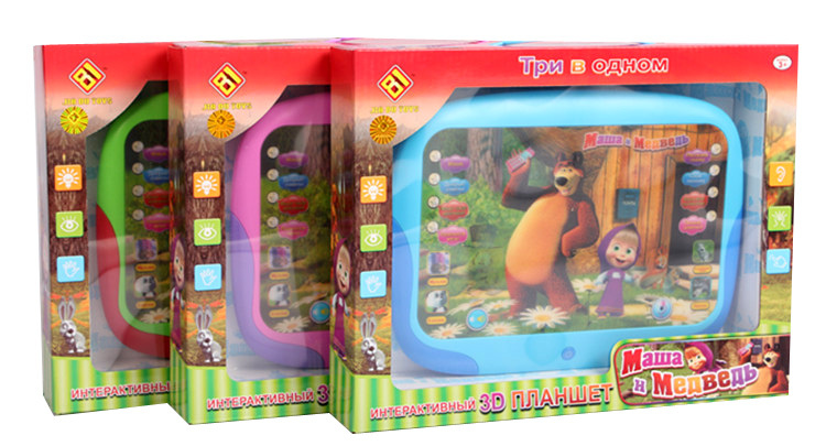 Russian Language 3D Masha a y pad Table ToysTalking Baby Electronic Interactive Classic Toy Computer children's tablet(China (Mainland))