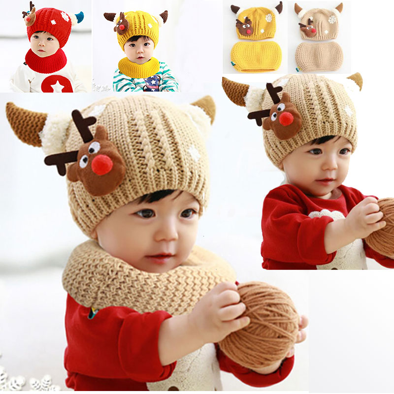 New Cute Baby Boys Girls Bull Deer Head Cx Horn Winter Gray Beanie Yellow Hat Caps RedHats With Wigs Headwear Hair Accessories(China (Mainland))