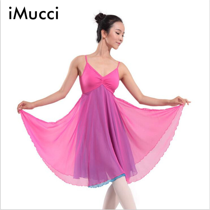 Spring Splice Chiffon Elegant Adult Ballet Tutu Dress Women Gymnastics Leotard Dance Clothing One-Piece Vest Ballet Dresses(China (Mainland))