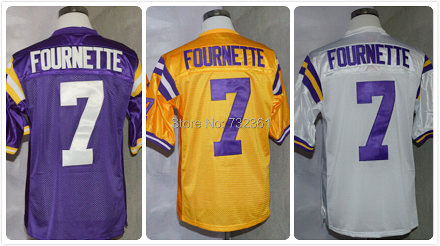 Free Shipping Cheap LSU Tigers #7 Leonard Fournette Jersey Purple Yellow White Stitched Logo American College Football Jersey(China (Mainland))
