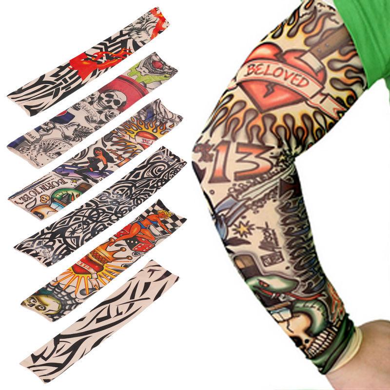 6 PCS new mixed 100%Nylon elastic Fake temporary tattoo sleeve designs body Arm stockings tatoo for cool men women Free shipping(China (Mainland))