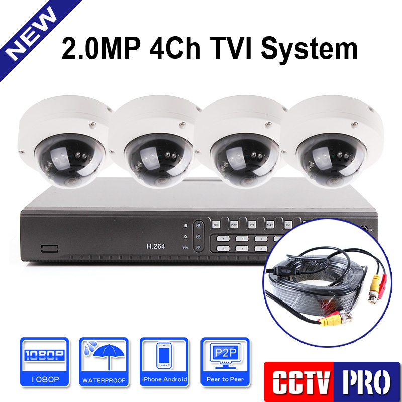 H.264 4CH Full 1080P HD TVI DVR Kit CCTV System 4Pcs 2.0MP Outdoor Dome TVI Camera IR 10m PC &Mobile View Hikvision Solution(China (Mainland))