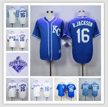 # 16 Bo Jackson jersey Kansas City Royals 2015 World Series Champions patch blue white grey size extra Small S 46 M - 4XL 58(China (Mainland))