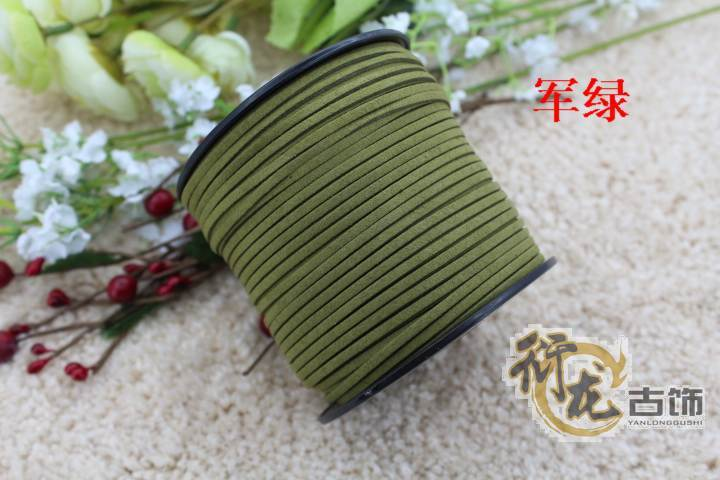Free Shipping 100yards/ Roll 3mm x 2mm Dark green Flat Faux Suede Korean Velvet Leather Cord DIY Rope For Bracelet Necklace(China (Mainland))