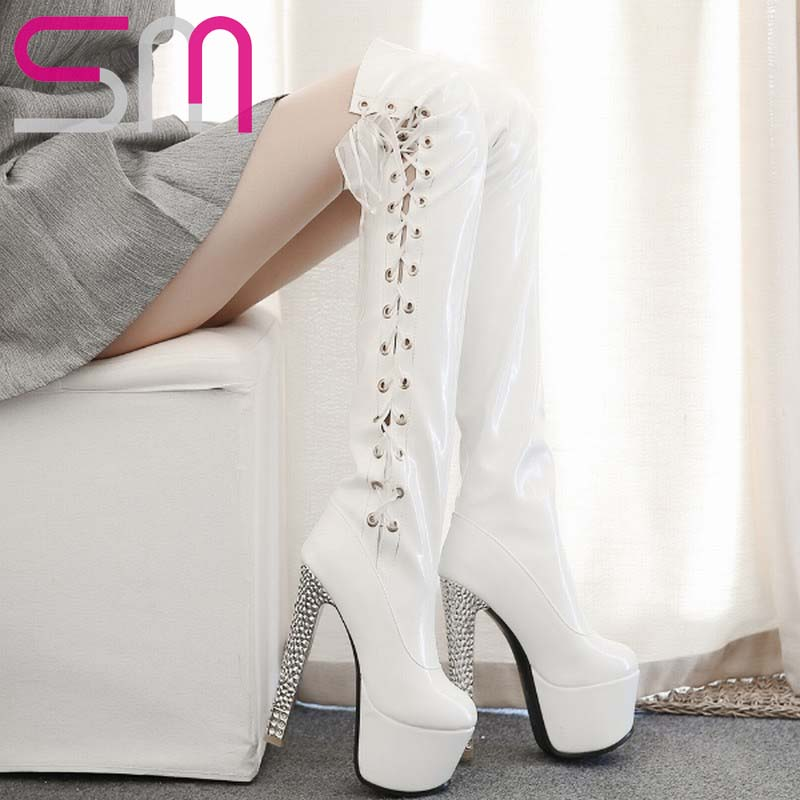 2015 Sexy Side Lace up Ribbons Super High Heels Thick Platform Over the Knee Boots for Ladys Fashion Party Date Winter Boots<br><br>Aliexpress