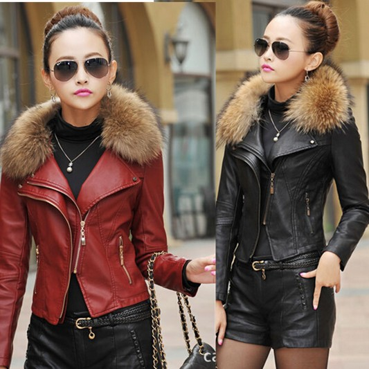 Womens Brown Leather Jacket With Fur Collar | Outdoor Jacket