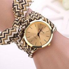 2015 Hot Fashion Women Aztec Tribal Floral Cloth Quartz Dial Wristwatch Watch