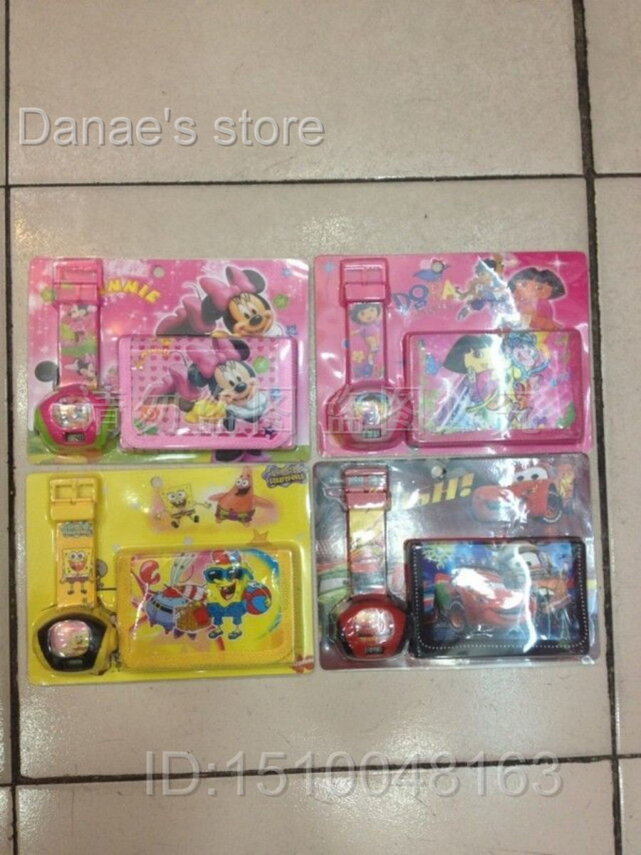 Free shipping Minnie Mouse Dora Cars SpongeBob SquarePants Children's projection table and purses Wallet for kids Mix order(China (Mainland))