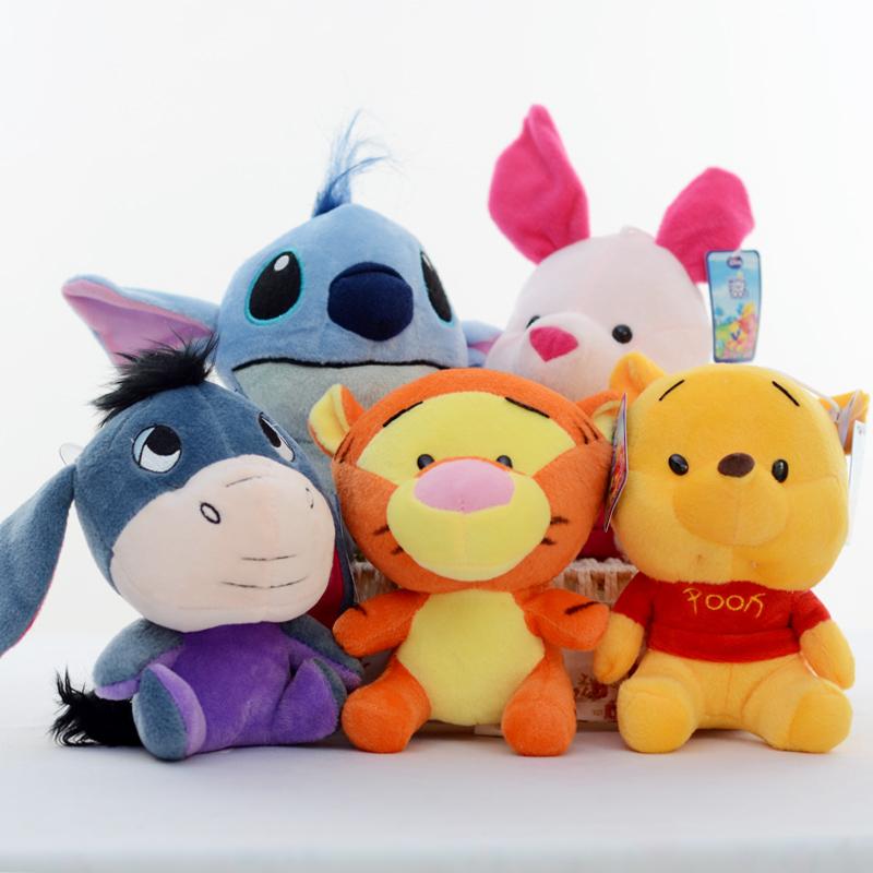 New hot 18cm Cute Big Head WinniePooh Tigger Piglet Pig Stitch Plush Toy Stuffed Animal Doll Gift For Kid Children Birthday gift(China (Mainland))