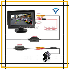 Parking Assist 2.4G Wireless 4.3 Inch TFT LCD Mirror Monitor With Car Rear view camera Reverse LEDs Night Vision Sensor System(China (Mainland))