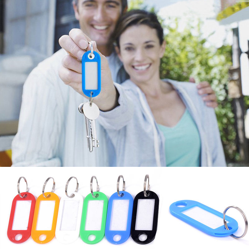 New 10PCS Colorful Key ID Labels Name Tags Split Ring Car Door Keyring Keychain(China (Mainland))