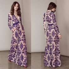 Women Love Luxury Temecula Maxi Dress Embroidered Floral Mesh Maxidress Summer See Through Nude Plunging Neck Sexy Beach dress(China (Mainland))