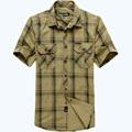 AFS JEEP Men Shirt Brand Summer Dress Men s Short Sleeve Shirt Plaid Style Plus Size