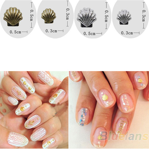 Mini Alloy Metal Shell Beads Design Nail Art Rhinestone Decoration Stickers Tip Studs spike 1GS2(China (Mainland))