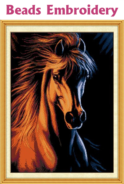 46*63cm full Bead Embroidery cross Horse Gold and Fire needlework home decoration crafts crochet felt sewing knitting machine(China (Mainland))