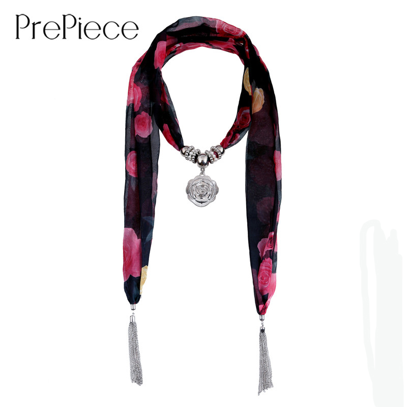 PrePiece Delicate Rose Print Fabric Scarves Silver Plated Tassel Flower Pendant Necklaces Scarf Beauty Jewelry for Women PSN0092(China (Mainland))