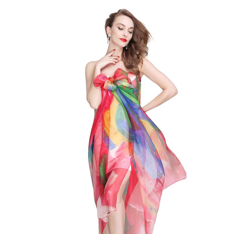 New Fashion Women's Chiffon gradient color Scarf flower style Shawl wraps Girls Gift Free Shipping(China (Mainland))
