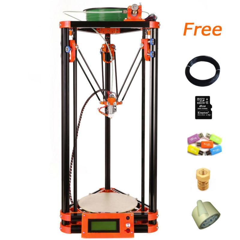 2016 LCD Diy 3d Metal Printer, Large Printing Size 3d-Printer Kossel Delta 3d Printer Kit With 40m Filament 8GB SD Card For Free
