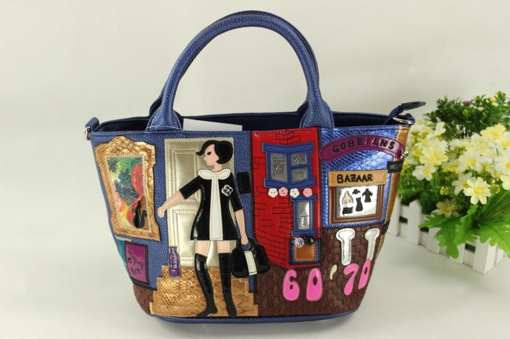 Фотография Female bales butch in European and American style hand bag embroidered bag shoulder bag handbag cartoon package