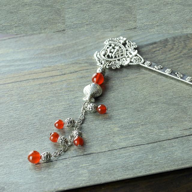 Natural agate miao silver tassel hair stick classical hair maker hair accessory 7000fz