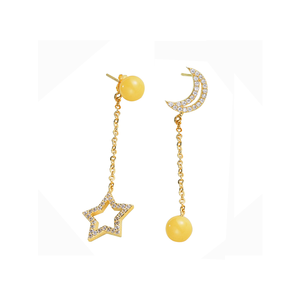 Drop Earrings Trendy Paving Cubic Zirconia 925 Sterling Silver Natural Amber Crescent Moon Star Dangle Earrings For Women(China (Mainland))