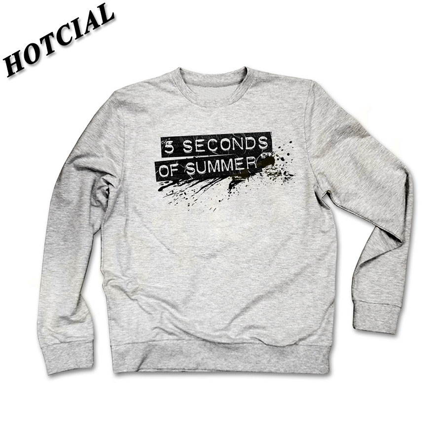 Fashion Style font b Men b font Sweatshirt 5 Seconds of Summer Black Letter Print Grey
