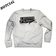 Fashion Style Men Sweatshirt 5 Seconds of Summer Black Letter Print Grey Sweatshirt Sportwear Long Sleeve Hoodies Plus Size