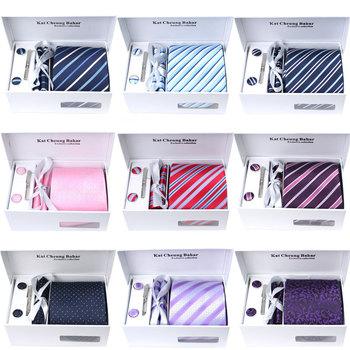 GIFT Wholesale men's polyester ties set including 1 Tie + 1 cufflinks + 1 tie clip+1 hankie+1 bag+gift box Width:8.5CM