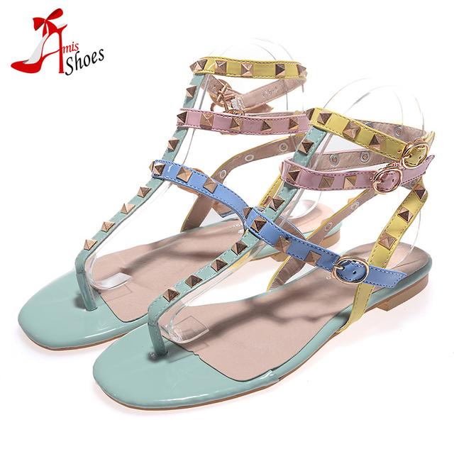 Новый 2016 многоцветный сандалии женщин заклепки 3 T-лодыжки ремень плоские сандалии ...