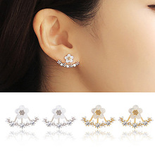2015 Fashion Earing Big Crystal White Gold Silver Jewelry High Quality Flower Ear Clips Stud Earrings For Women Brinco E2229(China (Mainland))