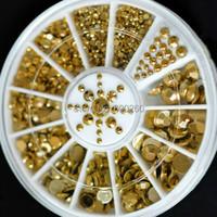 New Hot Sale 5 Sizes DIY 3D Nail Art Decoration Acrylic Glitter Gold Rhinestone 2015 free shipping