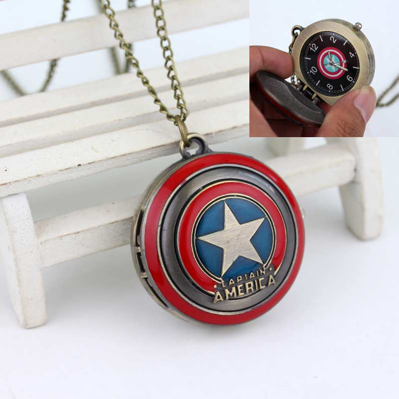 COOL!!!Captain America's Shield Superhero Logo Delicate Pocket Watch High Quality Gift To Family And Friends Movie Jewelry(China (Mainland))