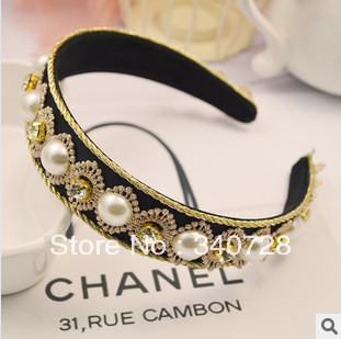 Luxury Baroque Royal Vintage Wide Hairband With Pearl and Crystal Lace headband hair wear Fashion Jewelry Accessories For Women(China (Mainland))