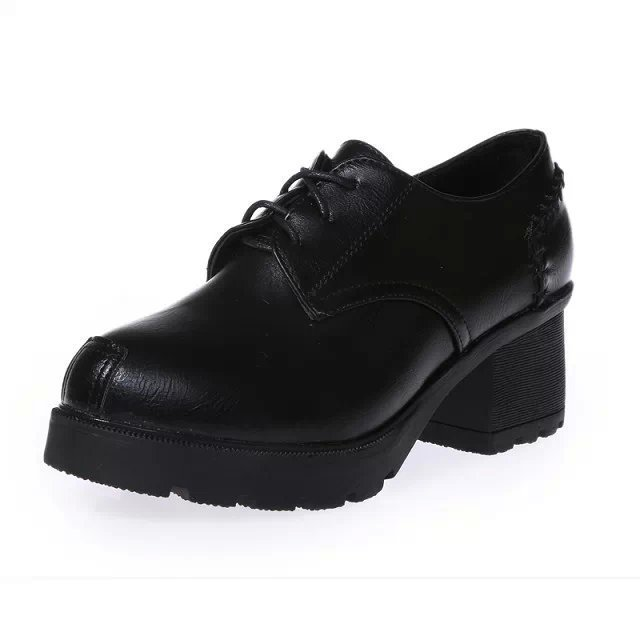 New Autumn spring women fashion shoes square high heels lace-up boots Oxford shoes casual leather female platform ankle boots