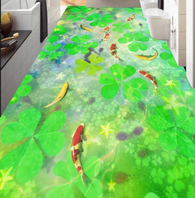 Buy 3d Floor Painting Leaf Plant Green
