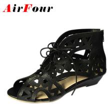 Airfour Big Size 34-43 Fashion Cutouts Lace Up Women Sandals Open Toe Low Wedges Bohemian Summer Shoes Beach Shoes Women