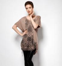 3XL-8XL Plus Size Women Clothing Clothes Novelty Ethnic Diamond Sequin Print Plus Size Tee Top T-shirt Large Big 4XL 5XL 6XL 7XL(China (Mainland))