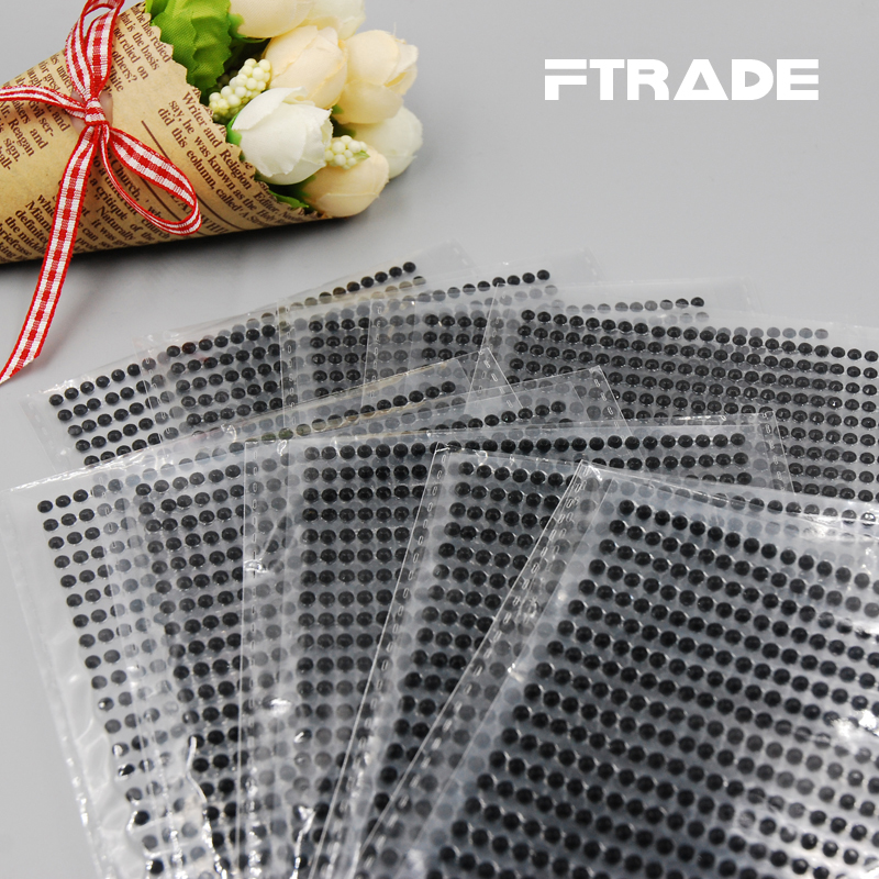 Hot Sales 750Pcs/set 3mm Black Color 3D Decal Art DIY Crystal Diamond Phone Stickers Rhinestone For Home Fridage Decoration(China (Mainland))