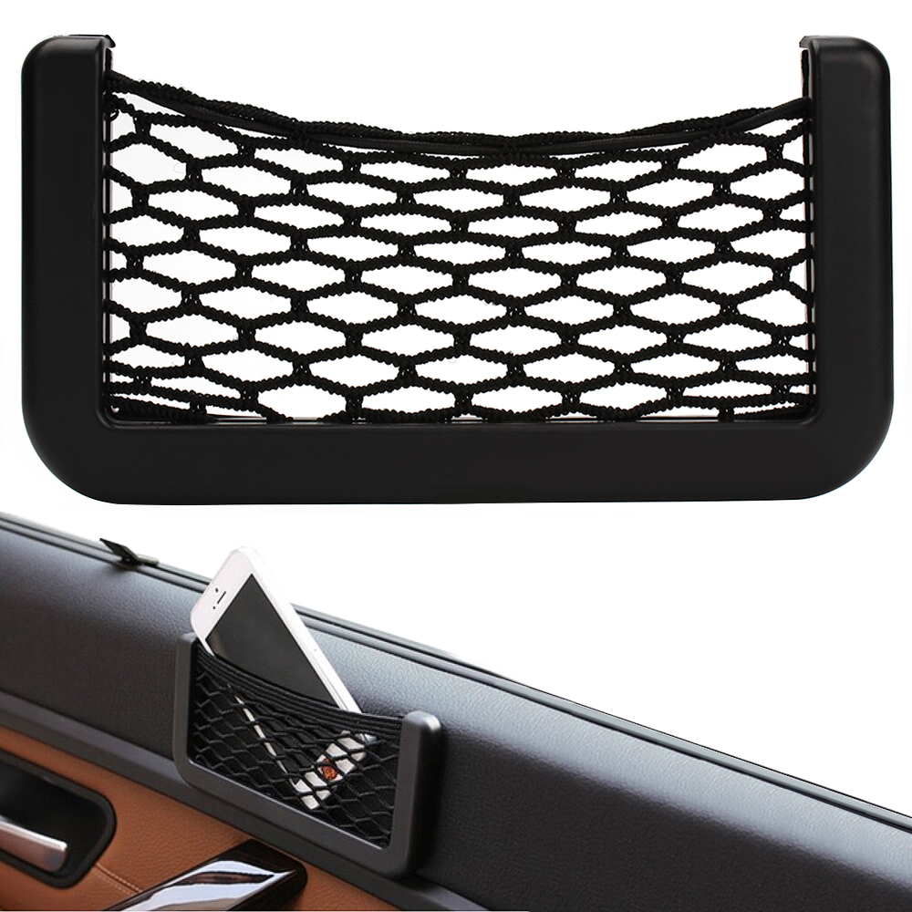 new car storage net automotive pocket organizer bag for mobile phone holder auto pouch adhesive. Black Bedroom Furniture Sets. Home Design Ideas