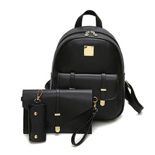 Fashion Composite Bag Pu Leather Backpack Women Cute 3 Sets Bag School Backpacks For Teenage Girls Black Bags Letter Sac A Dos(China)