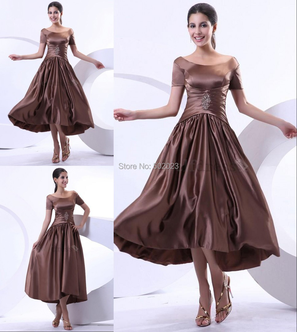 Brown tea length fall apple draped outdoor thin fancy for Fall wedding mother of the groom dresses