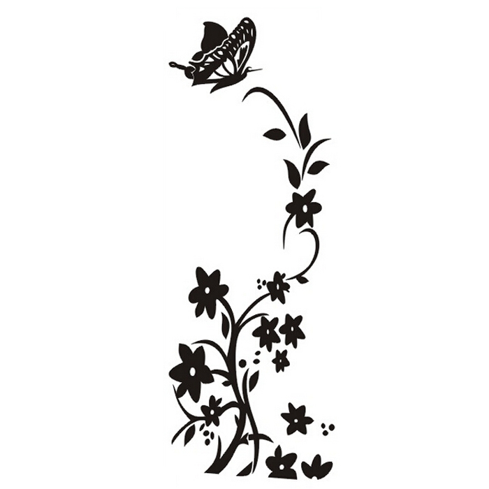 PHFU wholesale 5PCS Wholesale Free delivery / quality / refrigerator refrigerator butterfly pattern wall stickers black(China (Mainland))