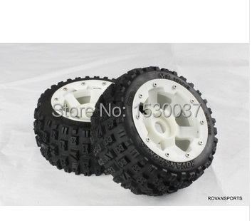 1/5 Scale RC KM RV HPI Baja 5B Buggy Knobby Rear Wheels &Tires (2)